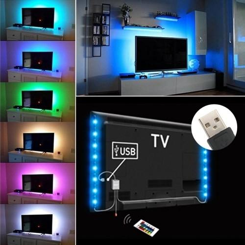 Kit tv striscia strip led usb rgb per retroilluminazione for Striscia led rgb
