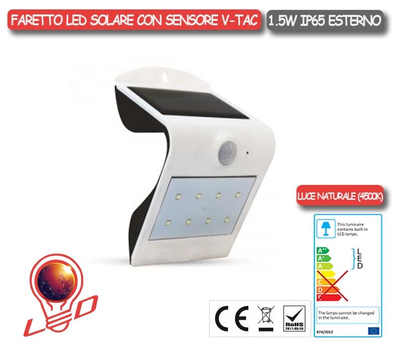 APPLIQUE LED PLAFONIERA IP65 ESTERNO PANNELLO SOLARE 1,5W V-TAC VT-767